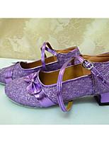 Women's Latin Glitter Flats Heels Practice Fuchsia Purple