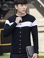 Standard Cardigan Da uomo-Casual Tinta unita Rotonda Manica lunga 20% Wool21% Poliestere 59% Viscosa Primavera Autunno SottileMedia