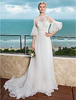 2017 LAN TING BRIDE A-line Wedding Dress See-Through Beautiful Back Court Train High Neck Tulle with Appliques