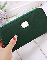 Women Checkbook Wallet PU All Seasons Casual Rectangle Zipper Green Ruby Purple