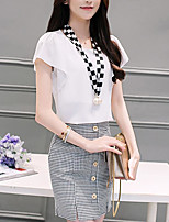 Women's Daily Casual Casual Summer T-shirt Skirt Suits,Color Block Plaid/Check U Neck Short Sleeve