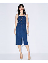 AMIIWomen's Casual/Daily Denim DressSolid Strap Midi Knee-length Sleeveless Cotton Polyester Summer Mid Rise Micro-elastic Thin