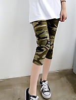 Women's Mid Rise Stretchy Skinny Pants,Simple Slim Print Camouflage