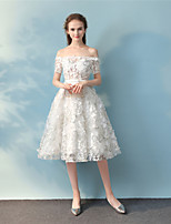 Cocktail Party Dress Ball Gown Off-the-shoulder Tea Length Lace with Lace Sash / Ribbon