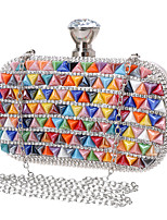 Women Evening Bag Polyester All Seasons Wedding Event/Party Formal Minaudiere Rhinestone Clasp Lock Rainbow Red Blue