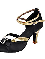 Women's Latin Silk Sandals Indoor Rhinestone Flared Heel Black/Gold