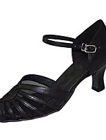 Damen Latin Kunstleder Sandalen Sneakers Professionell Verschlussschnalle Niedriger Heel Schwarz Mandelfarben 5 - 6,8 cm Maßfertigung