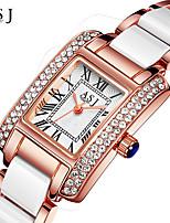 ASJ Femme Montre Bracelet Bracelet de Montre Japonais Quartz Etanche Alliage Céramique Bande Etincelant Rayure Créatif Argent Or Rose