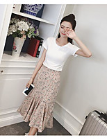 Women's Daily Casual Casual Summer T-shirt Skirt Suits,Solid Floral Round Neck Short Sleeve Micro-elastic