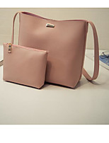 Women Tote PU All Seasons Casual Outdoor Round Without Zipper Brown Blushing Pink Black
