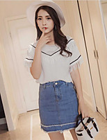 Women's Going out Casual/Daily Work Party Casual Summer T-shirt Skirt Suits,Solid V Neck Short Sleeve Tassel Micro-elastic