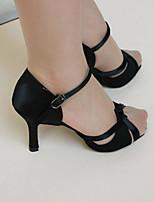 Women's Latin Silk Heels Practice Black Gold
