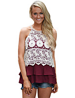 Women's Party/Evening Daily Cute Summer Tank Top,Embroidery Crew Neck Sleeveless Polyester Spandex Medium