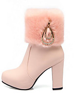 Для женщин Ботинки Армейские ботинки Осень Зима Полиуретан Повседневные Белый Черный Розовый 9,5 - 12 см
