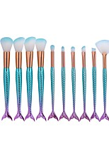 10 pcs Eyeshadow Brush Fan Brush Foundation Brush Nylon Cute Full Coverage Mermaid Aluminum Face Eye