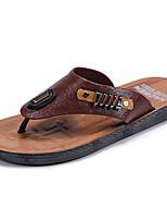 Men's Slippers & Flip-Flops Comfort Light Soles Leather Summer Fall Casual Outdoor Walking Comfort Light Soles Split Joint Flat HeelDark