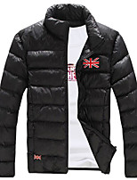 Men's Padded Coat,Simple Casual Solid-Cotton Polyester Long Sleeve
