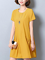 Women's Plus Size Street chic Loose Dress,Solid Round Neck Above Knee Short Sleeve Cotton Summer Mid Rise Micro-elastic Medium