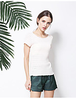 Women's Casual/Daily Simple Blouse,Print Strap Short Sleeve Cotton