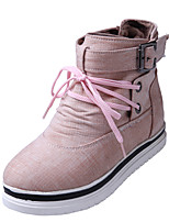 Women's Boots Comfort Leatherette Fall Winter Casual Dress Walking Comfort Buckle Wedge Heel Blushing Pink Green Gray Black 1in-1 3/4in