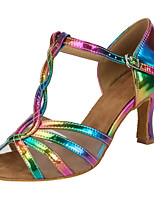 Women's Latin Silk Sandals Performance Criss-Cross Cuban Heel Rainbow 3
