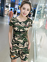 Women's Casual Simple Summer Hoodie Pant Suits,Camouflage Round Neck Short Sleeve Micro-elastic