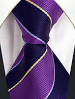 CXL31 Fashion Classic Extra Long 63 Business Men Neckties Purple Blue Stripes 100% Silk Unique Handmade