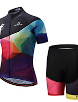 Miloto Cycling Jersey with Shorts Men's Men's Short Sleeves Bike Padded Shorts/Chamois Clothing Suits Cycling Spandex Polyester