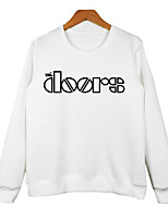 Women's Casual/Daily Sweatshirt Letter Round Neck Micro-elastic Cotton Long Sleeve Spring Fall