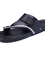 Men's Slippers & Flip-Flops Comfort PU Spring Summer Casual Low Heel White Black Orange Blue Under 1in