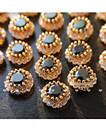 2Pcs Round Zircon Black Nail Alloy Metal Jewelry