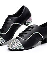 Men's Latin Synthetic Microfiber PU Heels Indoor Crystals/Rhinestones Low Heel Black 1