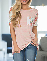 Feminino Camiseta Para Noite Casual Simples Verão,Listrado Floral Algodão Decote Redondo Manga Curta Média