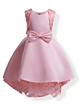 Girl's Solid Color Bowknot Lace Dress,Cotton All Seasons Sleeveless
