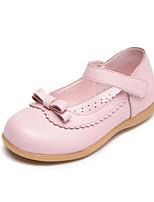 Mädchen Flache Schuhe Komfort Leder Frühling Herbst Normal Walking Komfort Klettverschluss Niedriger Absatz Weiß Schwarz Rosa Flach