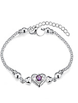 Women's Chain Bracelet  Fashion Vintage Amethyst  Fine Silver Heart Jewelry For Wedding Anniversary Party/ Evening