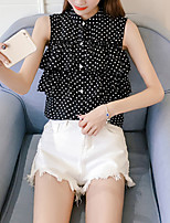 Women's Going out Casual/Daily Sexy Cute Summer Fall Blouse,Polka Dot Stand Sleeveless Polyester Medium