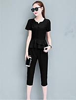 Для женщин Повседневные Лето Рубашка Брюки Костюмы V-образный вырез,Простой Однотонный С короткими рукавами Неэластичный