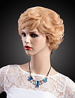 Elegant Classic Curly Short Length Heat Resistant Blonde Color Capless Wig for European and American Women