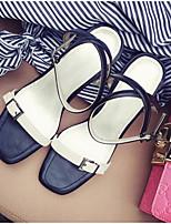 Femme Chaussures à Talons Escarpin Basique Cuir Eté Décontracté Escarpin Basique Gros Talon Kaki 5 à 7 cm