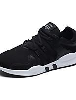 Для мужчин Кеды Удобная обувь Лайкра Дышащая сетка Весна Лето Атлетический Повседневные Шнуровка Белый Черный Черно-белыйНа плоской