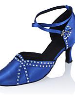 Women's Latin Silk Sandals Performance Crystals/Rhinestones Cuban Heel Blue Black 2