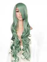 Long Wavy Mint Green Wig Glueless Synthetic Heat Resistant Fiber Body Wave Women Natural Hairline Hair Wigs
