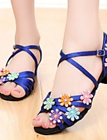 Women's Latin Silk Sandals Practice Flat Heel Blue Fuchsia Black Under 1