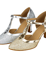 Customizable Women's Latin Glitter Sandals Performance Paillettes Cuban Heel Silver Gold 2