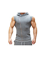 Men's Running Tank Breathability Comfortable Casual/Daily Vest/Gilet for Running/Jogging Exercise & Fitness Cotton Slim Black Dark GreyM