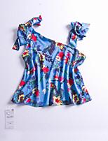 Feminino Camisa Social Casual Simples Estampado Algodão Sem Alças Manga Curta