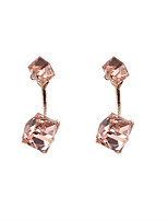Fashion Women Double Sided Earrings Stone Set Front And Back Stud Earrings
