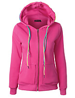 Women's Casual/Daily Hoodie Solid Hooded Inelastic Cotton Long Sleeve Fall Winter