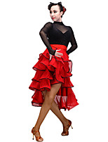 Latin Dance Women's Performance Tulle Milk Fiber 1 Piece Skirts